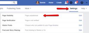 Screenshot Facebook Page settings